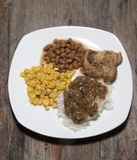 猪肉晚餐用米 图库摄影