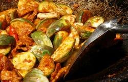 猪肉油煎的茄子咖喱 免版税库存图片