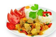 猪肉炖煮的食物用米 库存照片