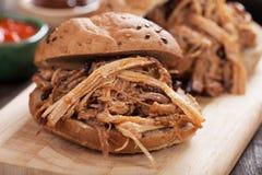 猪肉被拉的三明治 免版税库存图片