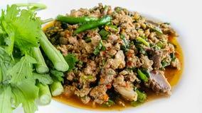 猪肉,沙拉,泰国食物,开胃菜,辣椒 免版税图库摄影