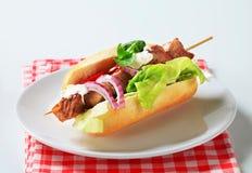 猪肉kebab三明治 库存照片