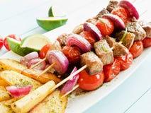 猪肉kebabs 免版税库存图片