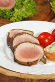 猪里脊肉,猪肉大奖章,烤了,猪肉,肉,烟肉 免版税图库摄影