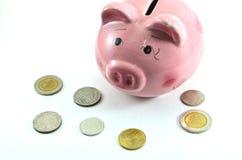 猪银行和金钱硬币。 免版税图库摄影