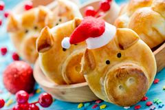 猪面包小圆面包,滑稽的烘烤想法塑造了逗人喜爱的贪心面孔 免版税库存照片