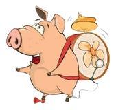 猪音乐家动画片的例证 免版税库存图片