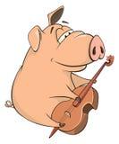 猪音乐家动画片的例证 免版税图库摄影