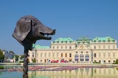 猪头在贝尔维德雷宫庭院,维也纳里 免版税库存图片