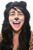 猫万圣夜服装的妇女 图库摄影