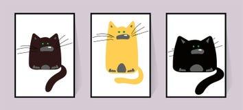 猫三 用不同的滑稽的动物字符的海报 与大颊须的黑,红色和棕色猫 动画片动物-浓厚 库存例证