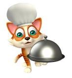 猫与厨师帽子和钓钟形女帽的漫画人物 皇族释放例证