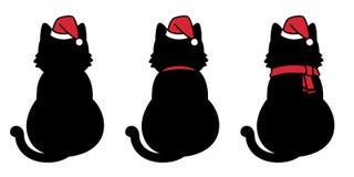 猫传染媒介圣诞节圣诞老人帽子Xmas象小猫白棉布商标漫画人物例证乱画黑色 皇族释放例证