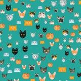 猫传染媒介例证逗人喜爱的动物无缝的样式滑稽的装饰全部赌注字符似猫的家养的时髦宠物 库存例证