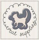 猫供应标签 免版税图库摄影