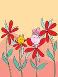 猫兔子花背景 库存图片