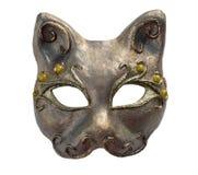 猫内部和carnaval面具,隔绝在白色 免版税图库摄影