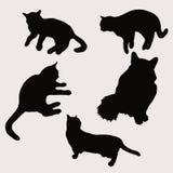 猫剪影在另外姿势传染媒介例证的 向量例证