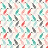 猫剪影的动物无缝的传染媒介样式 库存图片