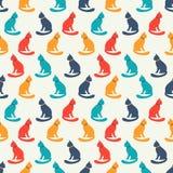 猫剪影的动物无缝的样式 库存图片