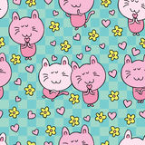 猫动画片爱花 皇族释放例证