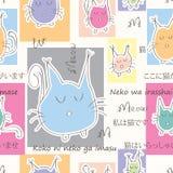 猫受欢迎的无缝的样式 免版税库存照片