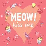 猫叫声!亲吻我 与乐趣词组、心脏形状和cat& x27的色的布局; s脚印 库存图片