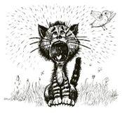 猫呼喊(传染媒介) 免版税库存照片