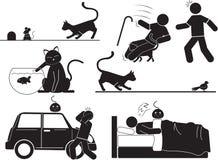 猫和人 皇族释放例证