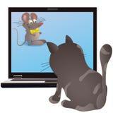 猫和在笔记本的屏幕的小的鼠标 皇族释放例证