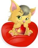 猫和心脏 免版税图库摄影