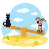 猫和狗在摇摆 免版税库存图片