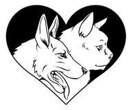 猫和狗宠物心脏 图库摄影