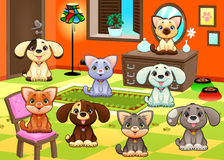 猫和狗家庭在房子里。 免版税库存图片