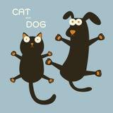 猫和狗 皇族释放例证