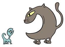 猫和蜥蜴 免版税库存图片