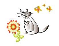 猫和飞行蝴蝶 库存照片