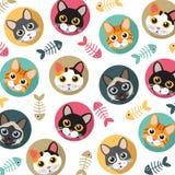 猫和鱼骨样式 免版税库存照片