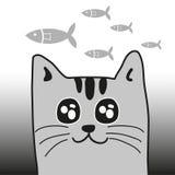 猫和鱼 免版税库存照片