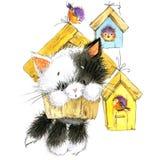 猫和鸟 哄骗背景为庆祝节日和生日聚会 水彩 免版税库存图片