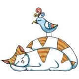 猫和鸟 免版税库存图片