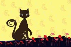 猫和蝴蝶背景 图库摄影
