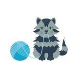 猫品种逗人喜爱的小猫灰色宠物画象蓬松幼小可爱的动画片动物和俏丽的乐趣演奏似猫的坐的哺乳动物 皇族释放例证
