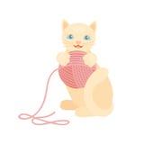 猫品种逗人喜爱的小猫红色宠物画象蓬松幼小可爱的动画片动物和俏丽的乐趣演奏似猫的坐的哺乳动物 库存例证