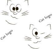 猫商标 在白色的黑剪影 猫的头的概述 免版税库存图片