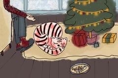 猫圣诞节时间 免版税库存照片