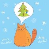 猫圣诞节杉树 库存例证