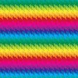 猫在彩虹颜色的犬牙样式 免版税库存照片