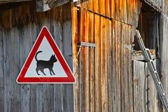 猫在谷仓的小心路标 免版税库存图片