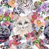 猫在水彩样式的野生动物样式 向量例证
